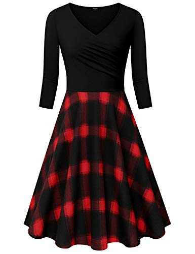 (Ckuvysq Women's Cross V Neck Dresses 3/4 Sleeve Flared A Line Dress (Black & Red Plaid, Large))