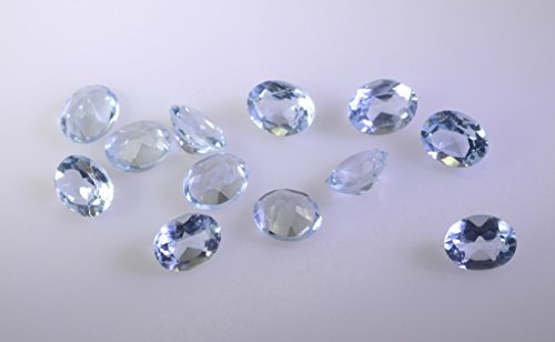 topaze bleue pierre lâche ovale à facettes 1 pc 5x6mm stbto-10029