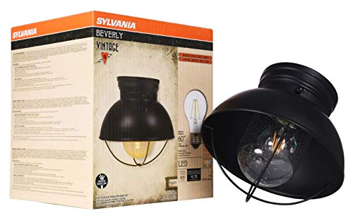 SYLVANIA 60051 Beverly Barn Cage Light, LED, Semi-Flush Mount, Dimmable, Antique Black ()