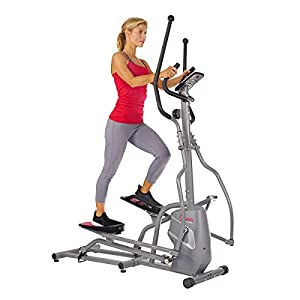 Sunny Health & Fitness Magnetic Elliptical Trainer Machine w/ Tablet Holder, LCD Monitor, 220 LB Max Weight and Pulse Monitor – SF-E3810,Gray