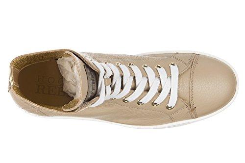 Hogan Rebel chaussures baskets sneakers hautes femme en cuir r182 sfoderato beig