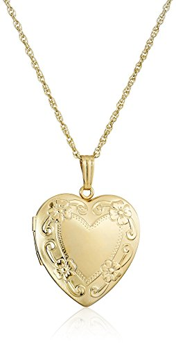 14k Yellow Gold-Filled Engraved Heart Locket, 20""