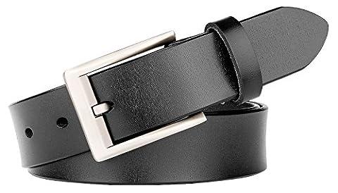 SUOSDEY Unisex Genuine Leather Dress Belt Classic Style 1.27'' New Arrival - Unisex Black Leather