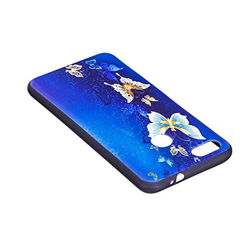 Funda Huawei P9 Lite Mini / Huawei Y6 Pro 2017,Carcasas Huawei Y6 Pro 2017,Moda Alta Calidad de Relieve Pintura TPU Flexible Silicona Suave Funda Carcasa Caso Cover Caja Suave Gel Shock Absorción Anti Mariposa dorada
