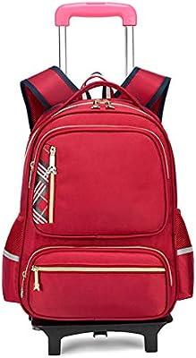 XHHWZB Mochila rodante, Mochila Escolar con Ruedas, Maleta con Ruedas, Mochila de Regreso a la Escuela para niños y niñas (Color : Red)