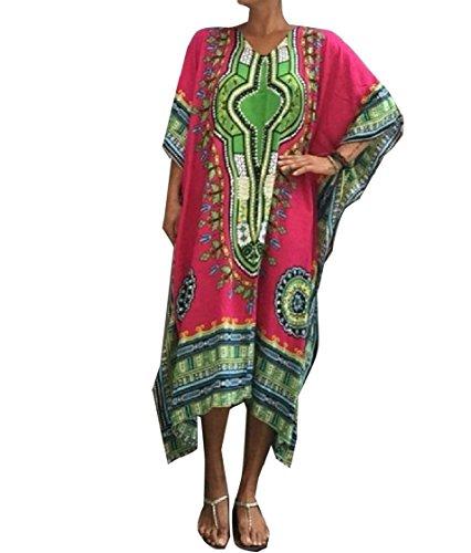 Coolred-femmes Dashiki Fleur De Séparation D'impression Manches Chauve-souris Oversize Partie Rétro Pattern7 Robe De Soirée