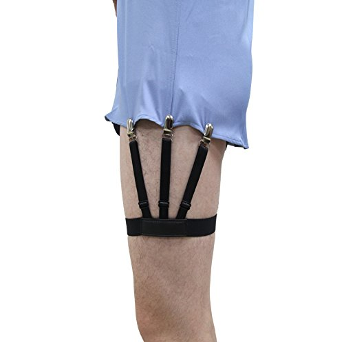 Jelinda Mens Dress Shirt Stays Leg Thigh Suspender Garters Keep Shirt Tucked in with Non-slip Locking Clamps (A plastic) (B metal)