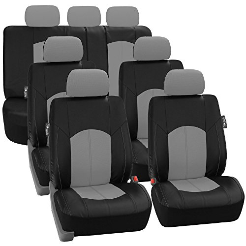 FH Group FH-PU008217 Perforated Leatherette Three Row Set Car Seat Covers, Airbag Compatible and Split Ready, Gray/Black Color - Fit Most Car, Truck, SUV, or Van