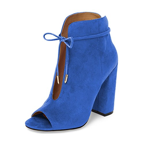Ankle Blue up Toe FSJ Women Comfy Peep Size Lace US 15 Heels High Booties Bowknot Chunky 4 Fashion Shoes wCC1Iq