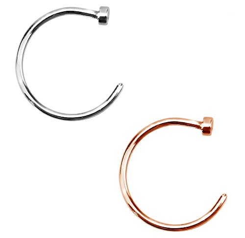 Forbidden Body Jewelry 20g 10mm Silver & Rose Gold Tone Surgical Steel Perfect Basics Comfort Fit Nose Hoops ()