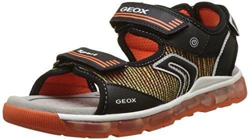 Geox J Sandal Android a, Sandalias con Punta Abierta Para Niños Negro (Black/orange)
