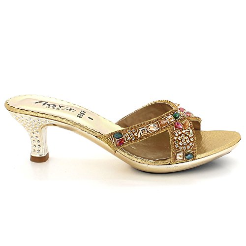 Heel Kitten Size AARZ Comfort Evening Shoes Slip Gold Open Toe Sandals Wedding Crystal LONDON Ladies on Bridal Womens Diamante Low Party pvqHrwpO6