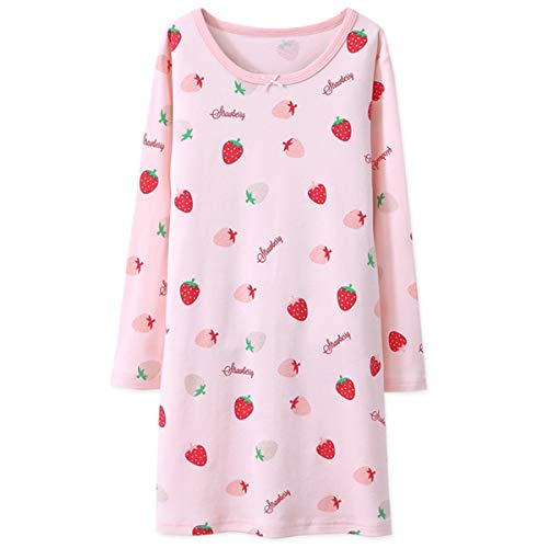 JAJADO Mommy Me Matching Girls Nightgown Long Sleeve Cotton Sleepwear Fruit Pattern Pajamas Family Clothes 175cm,Mom-Pink ()