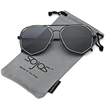 SojoS Fashion Metal Frame Flat Mirrored Lens Sunglasses SJ1004