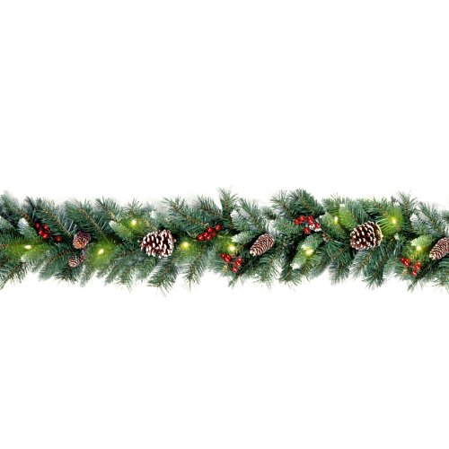 National Tree 9 Foot by 10 Inch Frosted Berry Garland with 100 Clear Lights (FRB-9GLO-1) (Garlands Christmas)