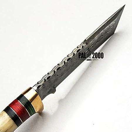 PAL 2000 Cuchillo de chef de 12,7 cm, hecho a mano, de acero Damasco, cuchillo de cocina con vaina, SBPB-9464