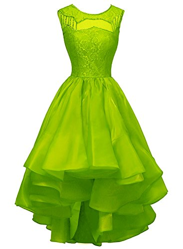 Bess Bridal Women's High-Low Beaded Lace Organza Prom Party Evening Dresses US8 Lime Green