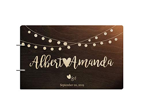 Guest Engraved Book (Just Customized Personalized Handmade Mr Mrs Wedding Guest Book for Bride and Groom Wood Alternative Custom Engraved Newlywed Marriage Album)