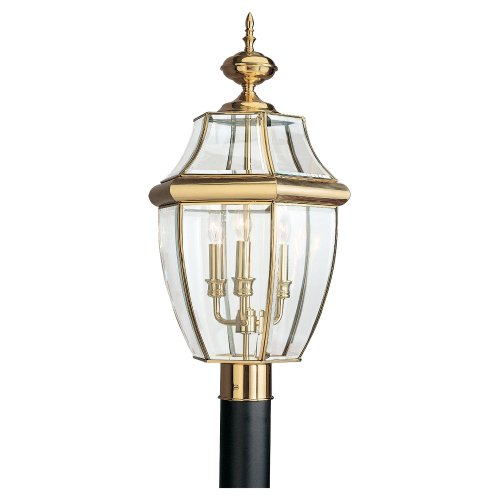 Sea Gull Lighting 2315305 Lancaster Three Light Outdoor Post Lantern, Polished Brass