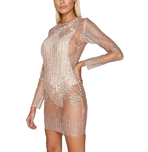 Fashion Women Sexy Sparkle Sexy Sparkling Sequin Princess Dress Glitter Sequin Bodycon Party Evening Dress Clubwear (Pink, XL) by YT couple