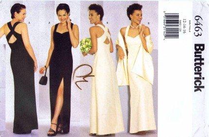 Amazon.com: Butterick 6463 Sewing Pattern Formal Evening Dress Stole ...