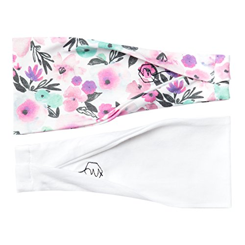 Women's Headband Yoga Running Exercise Sports Workout Athletic Gym Wide Sweat Wicking Stretchy No Slip 2 Pack Set White Floral Pink ''FLORA'' by Maven Thread by Maven Thread