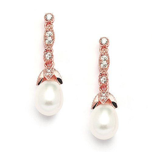 Mariell Rose Gold CZ and Genuine Freshwater Pearl Drop Vintage Wedding Earrings for Brides or Bridesmaids
