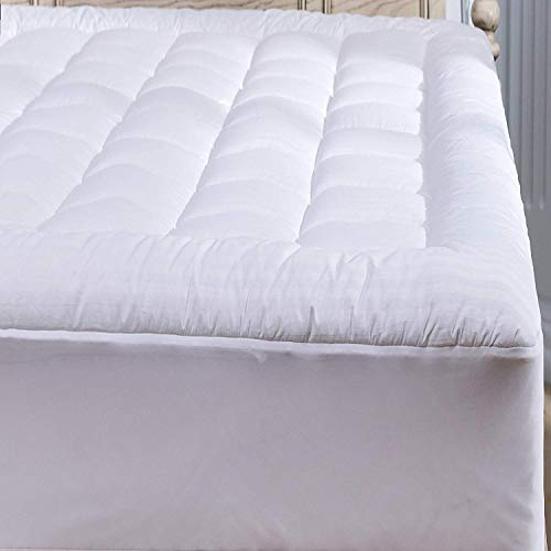 - 100% Cotton Sateen Mattress Topper Queen Pillow Top Stripe 300 Thread Count Extra Plush Overfilled Down Alternative Hypoallergenic Anti Allergy, Ultra-soft Breathable, Fitted 8-21Inches Deep