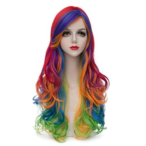[Lolita Rainbow Multicolor 65cm Long Curly Girls Anime Cosplay Wig+Cap] (Rainbow Dash Human Costume)