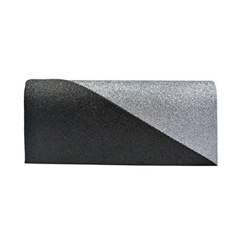 - Premium Two Tone Metallic Glitter Flap Clutch Evening Bag Handbag, Grey