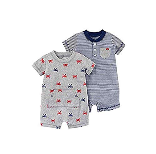 Carter's Baby Boys' 2-Pack Crab Rompers - Gray (Gray, 18 Months)