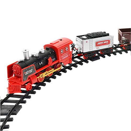 2 Steam Locomotive Number (Remote Control Train Dressin Super Fun Classic Holiday Electric Train Set with Real Smoke LED Lights Sound,12 Tracks 3 Train Car, A Full Set with Locomotive Engine, Cargo Cars, Tracks (B))
