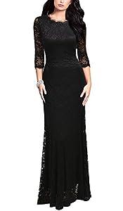 REPHYLLIS Women's Retro Floral Lace Vintage Bridesmaid Wedding Long Dress