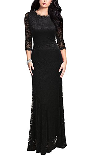 REPHYLLIS Women's Retro Floral Lace Vintage Bridesmaid Wedding Long Dress(L,Black)