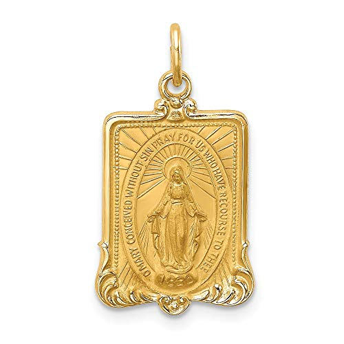 14k Yellow Gold Solid Medium Rectangle Framed Miraculous Medal Pendant Charm Necklace Religious Fine Jewelry Gifts For Women For Her ()