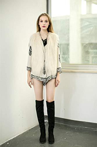 V Cou Fourrure Automne Costume Fashion Gilet Manteau Art Fourrure El Femme Hiver Blouson sans Manches fIqXwTnHx