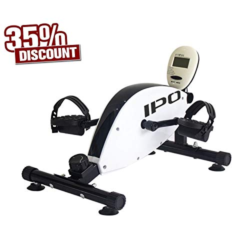IPO 3-in-1 Stationary Bike Folding Exercise Bikes Pedal Exerciser Indoor Cycle Bike Recumbent Bike Eliptical Exercise Machine for Home Office Cardio Training with Electronic Display (Mini)