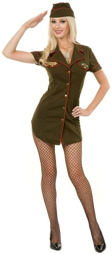 [Charades Costumes Women's Army Babe Adult Costume X-Small Green] (Sexy Army Costumes For Women)