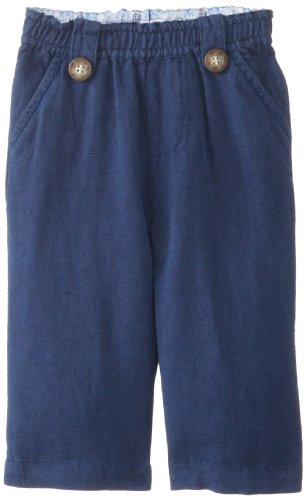(JoJo Maman Bebe Baby-Boys Newborn Linen Trousers, Navy, 6-12)