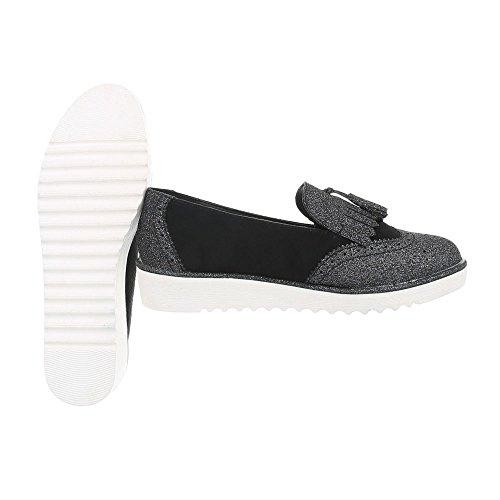 Mocassins 68 Noir Femme Chaussures Slippers Plat design 58 Ital axwvtq60