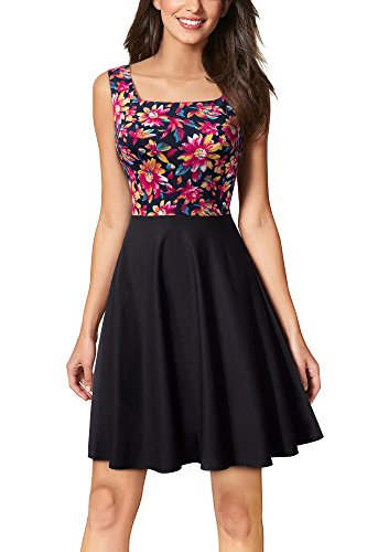 Square Neck Mini - HOMEYEE Women's Square Neck Sleeveless Cocktail Evening Party Mini Dress A082 (4, B+Floral)