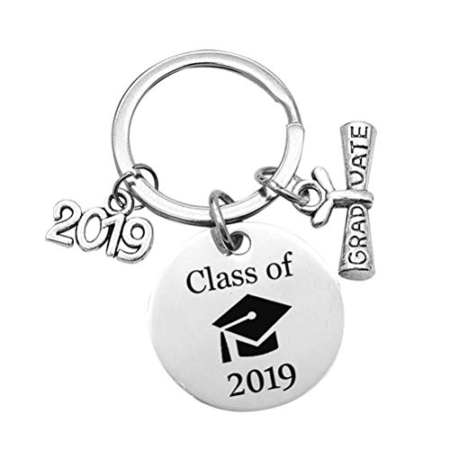 (LUOEM Graduation Keychain Stainless Steel Class of 2019 Graduate Hanging Pendant Keyring Graduation Gift for Friends(Class of 2019))