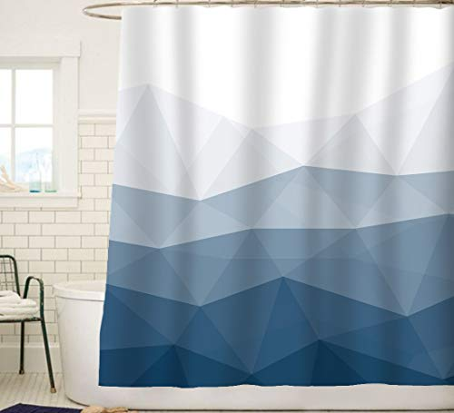 Sunlit Designer Shower Curtain,Popular Shower Curtain, Ombre Blue Fabric Shower Curtains for Bathroom Decor, Contemporary Bathroom Curtains - Better Material - Made of water-repellent fabrics, non-PVC. Added thickness for better draping in shower. Premium Quality - Rust-proof metal grommets and reinforced top-header to ensure durability. Sharp Printing - HD graphic designs printed with advanced color-fast technology. - shower-curtains, bathroom-linens, bathroom - 41trdmczt9L -