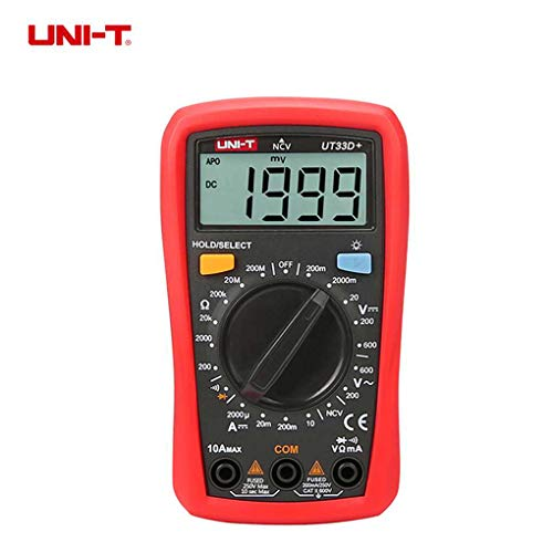 UNI-T UT33D+ Digital Multimeter NCV Detector AC DC Voltage DC Current Resistance Tester Manual Range LCD Multitester