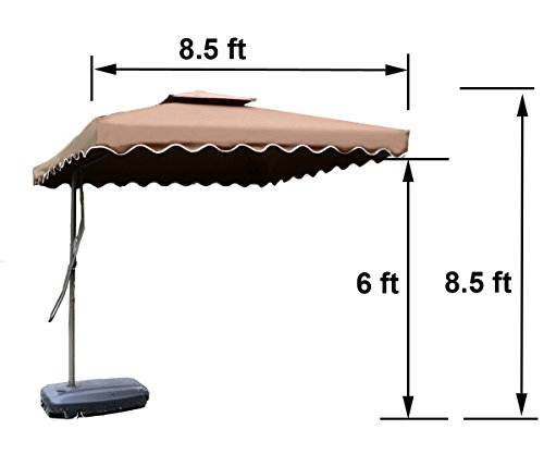"Tylor's Garden 8-1/2 Ft Cantilever Market Outdoor Patio Umbrella Hanging Umbrella, UV Resistant Polyester, Coffee - Make more shade - 8-1/2 ft diameter provides adequate coverage for 4-seater round or square 36"" and smaller tables Only including cross base, weights is not included 1.9"" Rust- Free powder coated premium steel lightweight pole, fit most of patio umbrella base - shades-parasols, patio-furniture, patio - 41tre9D0G L -"