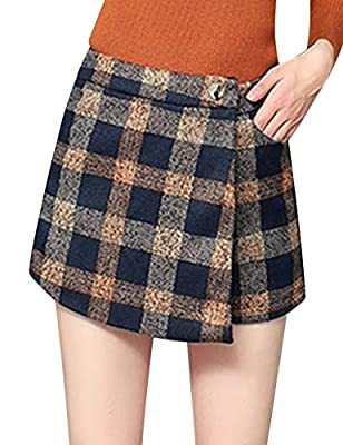 Tanming Women's Winter Thicken Button High Waist Plaid Cotton Mini A Line Skirts