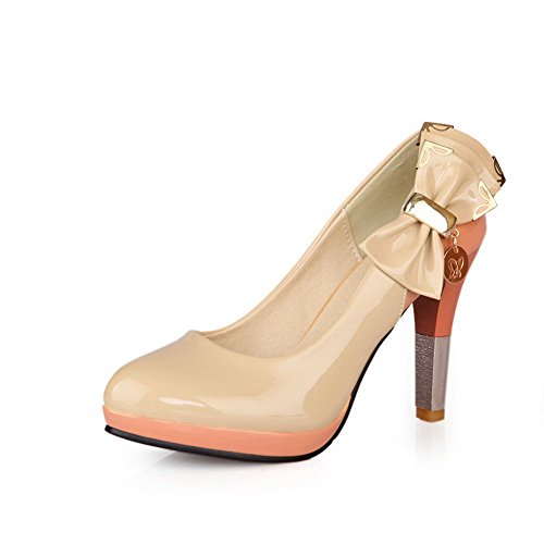 Round Metal Womens and Platofrm apricot High Leather VogueZone009 Pumps Closed with Bowknot Patent Solid Heel Toe qwfnAg