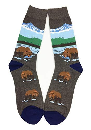 Aesthetinc Panda Bear Brown Bear Novelty Cotton Crew Socks (Grizzly Bear) ()