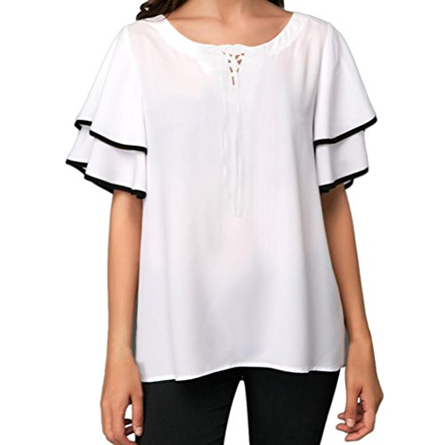 vermers Big Promotion Summer T Shirts for Women Chiffon Casual Bandage Short Sleeve Blouse Tops(L, White) (Big Pintuck Shirt)