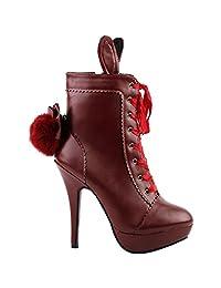 Show Story Lolita Style Rabbit Fur Bow Lace-Up Stiletto Platform Ankle Boot Bootie,LF30311